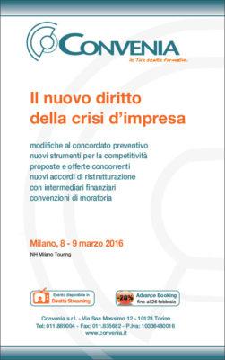 Il nuovo diritto della crisi d'imprersa, marzo-2016
